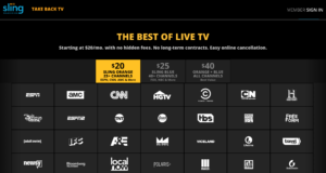 Sling TV is now compatible with Roku, Apple TV and Chromecast. Channel packages start as little as $20 per month.