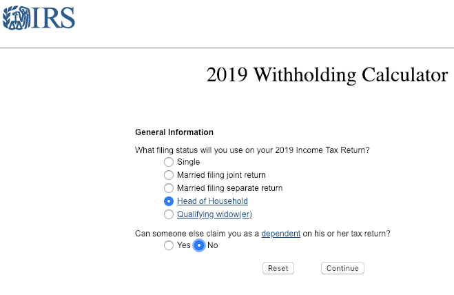 IRS Withholding Calculator Page 1